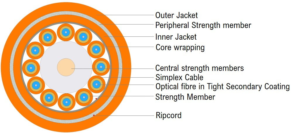 Universal Breakout Cable - Double Jacket 12F